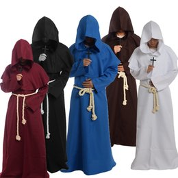Wholesale Cosplay Costumes For Men - Medieval Friar Costume Vintage Renaissance Priest Monk Cowl Robes Cosplay Outfits with Cross Necklace for Adult Men Gifts
