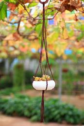 FDS Decorative Flower Knitted Nylon Hanger Flowerpot Holder Appeso Cesto Cesto con Macrame per giardinaggio Usa 5 colori opzione da