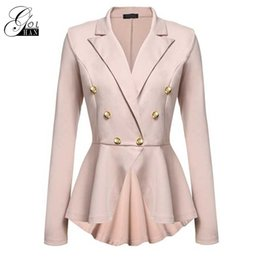 Wholesale Trench Coat For Women Pink - Gold Hands Double-breasted Outerwear Coats Slim Winter Trench Coat Long Sleeve Street Overcoat for Women Female Wave Hem