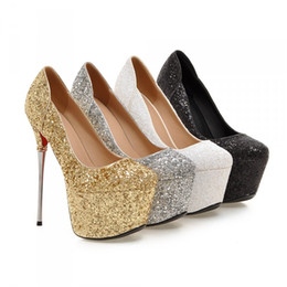 Wholesale Custom Made Silver Heels - 2016 Ladies High Heels Brand New Sexy Glitter Party Shoes 16CM Big Size Custom Made 32-43 Size Women Platform Pumps Nightclub Dress Shoes