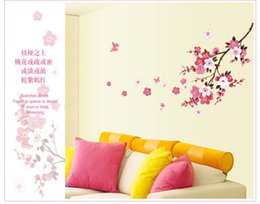 Wholesale Sakura Wall Decal - romantic sakura flowers wall stickers home decorations 9053. living bedroom office diy floral decals tv background mural art 4.0