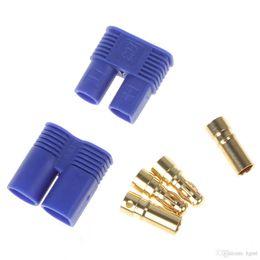 Wholesale Dji Esc - EC3 EC3.0 Golden Plug Female Male Bullet Connector with Blue House for RC ESC LIPO Battery Motor AFD_618