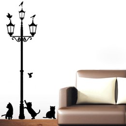 Wholesale Diy Lamp Wallpaper - 3 Little Cute Cat under Street Lamp DIY On the Wall Stickers Wallpaper Art Decor Mural Room Decal Decoration Adesivo De Parede