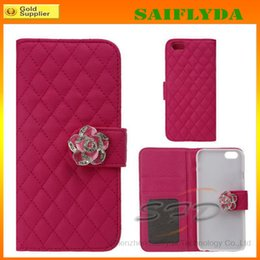 Wholesale Iphon Cases - Flip PU Leather Rhinestone Phone Case Camellia Wallet Cover With Credit Card Slots For iphon 6 iphone 6 plus phone 5 5s iphone 4 4s
