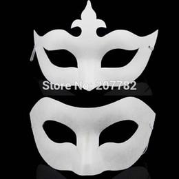 Wholesale Wholesale Plain White Masks - Wholesale-White Unpainted Face Plain Blank Version Paper Pulp Mask DIY Masquerade Masque