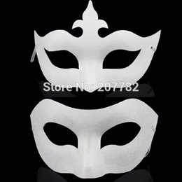 Wholesale Diy Unpainted Blank Pulp Mask - Wholesale-White Unpainted Face Plain Blank Version Paper Pulp Mask DIY Masquerade Masque