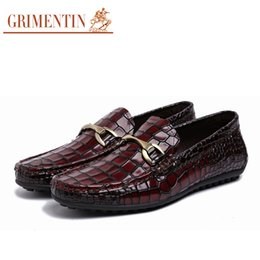 Wholesale Smart Shoes Mans - GRIMENTIN New Mens Loafers Genuine Leather Italian Luxury Crocodile Style Slip On Buckle Smart Casual Dress Shoes For Male size:38-44 3z81
