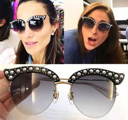 Wholesale Pearl Cat Eye Glasses - 0212 Cat Eye Sunglasses for Women Designer High Quality Acetate Frame UV400 Lens with Pearl Sun Glasses with Case Oculos De Sol Feminino