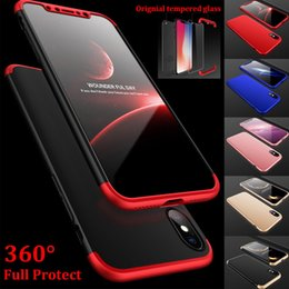 Wholesale Iphone Hard Screen Protector - new for iphone x case 360° Hybrid Hard Ultra Thin cover front back full protect + screen Tempered protector Glass Cover for Apple iPhone X