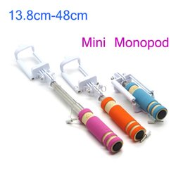 Wholesale Pocket Tripod - Pocket Handheld Monopod Extendable Selfie Stick Cable Wired Remote Shutter mini tripods For iphone samsung