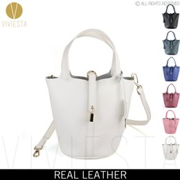 Wholesale Natural Leather Bags - Wholesale-GENUINE LEATHER KEY LOCK MINI BUCKET BAG - Women's 2016 Fashion Natural Soft Cowhide Top Handle Small Tote Crossbody Bag