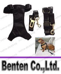 Wholesale Dog Safety Buckle - Dog Nylon Harness + Leash + Adjustable Car Vehicle Auto Seat Safety Belt Seatbelt Combo Set with Quick Release Buckles, Black LYA32