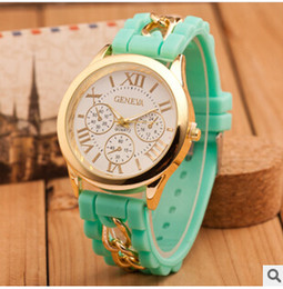 Wholesale Geneva Chain Watches - 2017 Fashion Christmas Geneva Watch Shadow lovely Colorful Style Rubber Silicon Candy Jelly Unisex Women Silicone Quartz gift chain Watches