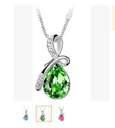 Wholesale New Design Necklace Jewellery - 2016 New Unique Design Crystal Drop Necklace Fashion Jewellery (7 colours)