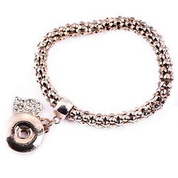 Wholesale Diy Rose - 4Pcs Rose Gold Bracelets Crystal Heart Charm Bracelets Bangles 18K DIY Ginger Snaps Button Jewelry 2018 New Style Bracelets