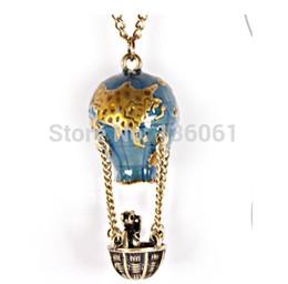 Wholesale Vintage Enamel Silver Pendant - Fashion Jewelry Vintage Bronze Enamel Hot air balloon Basket Bear Charms Choker Statement Necklace& Pendants For Women 10pcs X901