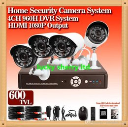 Wholesale Security System Lead Boxes - CIA-free shipping 4CH CCTV Security DVR System 4pcs CMOS 600TVL waterproof 24 LED light Cameras H.264 DVR CCTV Camera Systems