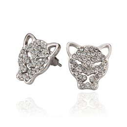 Wholesale Name Brand Earrings - Fashion Brand Name Animal Leopard Head Tin Alloy Crystal Earrings Lot For Women Accessories Jewelry 2015 Three Color E874