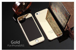 Wholesale Film Set - Wholesale-9H hard Tempered Glass mirror design screen protector one set (front+back) screen film guard for iphone 5 5s Gold