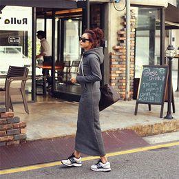 vestido gris con capucha Rebajas 2015 otoño invierno mujer negro gris suéter vestido cálido piel polar sudaderas con capucha manga larga delgado maxi vestidos largos vestidos femeninos