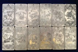 Wholesale Tibet Silver Bullion - Old Chinese Chinese Twelve Zodiac tibet Silver Bullion thanka amulet 12piece