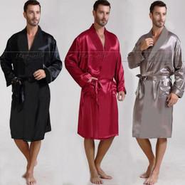 Wholesale Pajama Shirt Satin - Wholesale-Mens Silk Satin Pajamas Pajama Pyjamas PJS Sleepwear Robe Robes Nightgown Lounge wear S~3XL Plus Black