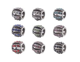 Wholesale Mixed Rhinestone Spacers - New Arrive 10PCS Fashion Mixed Colors Rhinestone Charm assorted design metal Beads Fit European Bracelet #91855-#91863