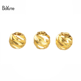 Wholesale Crimps For Jewelry - BoYuTe 100Pcs 3MM 4MM Metal Brass Bodhi Beads for Fashion Jewelry Making Diy Accessories Jewelry & Accessories