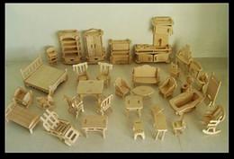 Juguetes gratis modelos 3d online-Envío gratis DIY Mini muebles 34pcs / set, juguetes educativos para niños Dollhouse Furniture Toy, 3d Woodcraft Puzzle Building Model Kit Toy