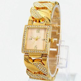Wholesale high fashion dresses for women - New model golden watch for women with diamond Bracelet Watch Japan movement fashion dress watches Luxury watch high Quality Free shipping