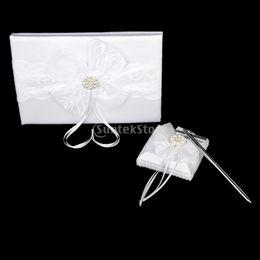 puesto de libro blanco Rebajas Al por mayor-encaje blanco arco adornado adornado boda libro de invitados pluma y soporte conjunto