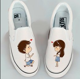 Wholesale Personalized Shoes Gold - Wholesale- 2016 New Sport Foot Wrapping Women's Canvas Shoes Personalized Hand-Painted Shoes Girl Flat Low Graffiti Shoes Woman Cow Muscle