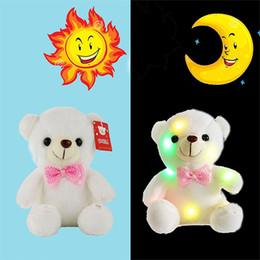 детские игрушки Скидка Рождественский подарок 20 см творческий свет вверх LED плюшевый медведь чучела животных плюшевые игрушки красочные светящиеся плюшевый мишка для ребенка!