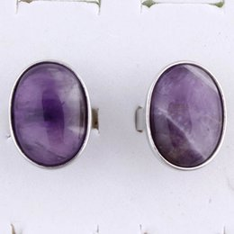 Wholesale Oval Cabochon Settings Silver - Charm Oval Cabochon Amethyst Aventurine etc Natural Stone Adjustable Rings Accessories Silver Plated Fashion Jewelry Reiki Amulet 10Pcs