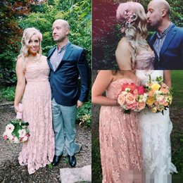 Wholesale Strapless Peach Long Dress - 2016 Gorgeous Peach Pink Bridesmaid Dresses A Line Sweetheart Lace Appliques Zipper Back Floor Length Women Formal Party Dresses