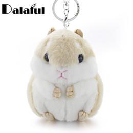 Wholesale Mini Alloy Crosses - beijia Mini Hamster Keyrings Keychains Faux Rabbit Fur Pompom Fluffy Trinkets Car Handbag Pendant Key Chian Ring Holder K356
