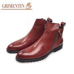 Wholesale Wedding Boots For Men - GRIMENTIN 2018 New luxury brand zip men ankle boots genuine leather brown fashion male shoes business wedding shoes for boots size:38-44 o9