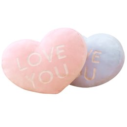 Wholesale Kids Heart Pillow - Plush Love Shaped Pillow Love You Stuffed Cushion Pink Blue Kids Soft Bolster Home Sofa Decor Heart Thow Pillow Kids Girlfriend Boyfriend
