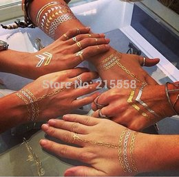 Wholesale Tatuagem Sexy - 2015 new body art metallic temporary tattoo sexy product jewelry bracelet gold tatoo henna tattoos tatuagem JJAL O101