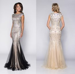 Wholesale Luxurious Pageant Dresses - New 2015 Luxurious Rhinestone Beaded Mermaid Prom Dresses Exquisite Beading Jewel Neck Cap Sleeve Floor-length Evening Gown Pageant Dress