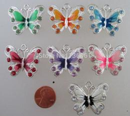 Wholesale Enamel Vintage Earring - 50pcs Vintage Silvers Enamel Rhinestone Crystal Butterfly Charms Pendants For DIY Bracelets Earrings Necklace Jewelry Findings Girls Q381