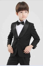 Wholesale Velvet Shawls - Shawl Lapel Kid's Wedding Formal Groom Tuxedos Flower Boys Children Party Suits 2 Piece (coat + pants) custom made