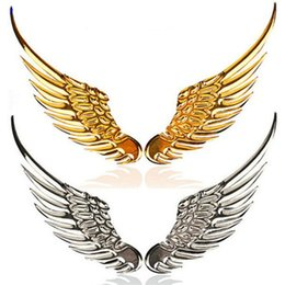Wholesale Gold Chrome Sticker - 1 Pair 3D Chrome Angle Wing Car Styling Stickers Whole Body Personalized Motorcycle Sticker Car-styling Car Accessories Gold and Silver