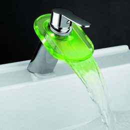 Wholesale Glass Lavatory Faucet - Drop shipping tap free shipping temperature control 3 colors LED Glass Waterfall Bathroom Lavatory Faucet Mixer Tap
