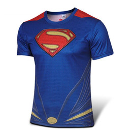 Wholesale Girly Shirts - Wholesale-High quality new 2015 Men superhero Batman Jersey shirt sports quick dry fitness compression drying T shirt 3D girly men