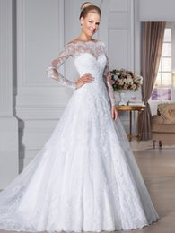 Wholesale Sheer Beach Gowns - 2016 Elegant Bateau Wedding Dresses with Sheer Lace Back Beach Bridal GownsA-Line Appliques Long Sleeve Wedding Gown Bridal Dress