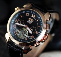 Wholesale jaragar automatic dive watch - Hot sale men leather watch golden number mechanical dive mens date automatic watches luxury sport jaragar free shiping 2015 Newest