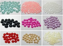Wholesale Pearl Bead Flat Back - 2000 Mixed Colour Half Pearl Bead 4mm Flat Back Round Gems Scrapbook Craft
