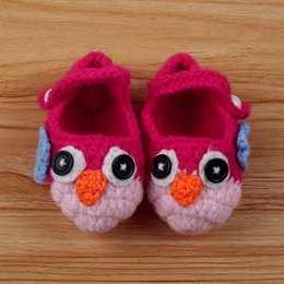 Wholesale Owl Crocheted Baby Shoes - Wholesale-0-12M Baby Unisex Toddler Shoes Wool Booties Owl Handmade Crochet Knitted Shoes Free Shipping