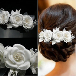 wedding hair accessories flower girl Coupons - Elegant Girl Soft Pearl Short Bride Barrettes Hair Accessory Wedding Veil Bridal Veil Wedding Accessories Brides Hair Decoration